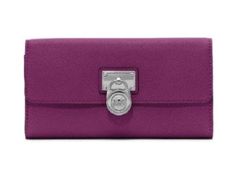 Michael Kors Hamilton Large Flap Clutch Wallet Pomegranate Saffiano Leather