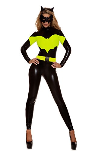 [NonEcho Bat Woman Catsuit Costume for Adult, 3 Pieces set, Black, Free size] (Robin Corset Costume)
