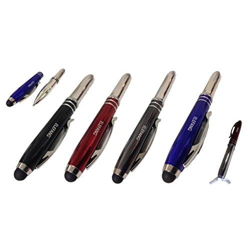 トリプル機能!! 【 ハイパー マルチ タッチペン 2本セット 】ボールペン / LEDライト ※ スマホ、iPhone、タブレット等、全てのタッチスクリーン製品に対応[カラー:ブラック、グレー、ブルー、レッド]※※ プレゼント 用に ベルベット ポーチ が付いてます♪ [ELEFANG] (グレー&レッド)