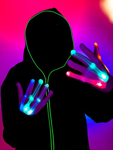 LED Gloves, Light up Rave Gloves, Glow Neon Gloving From Turnneon (El Wire Clothing compare prices)