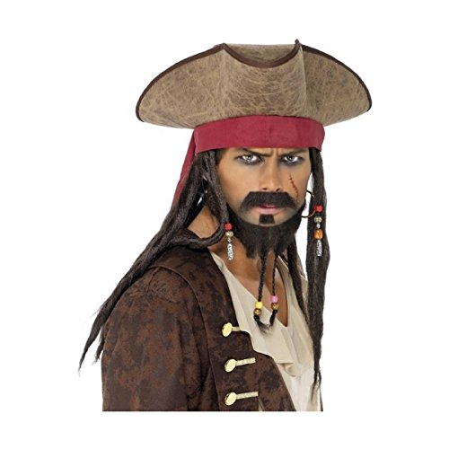 Pirate Hat with Dreadlocks Adult Costume Accessory