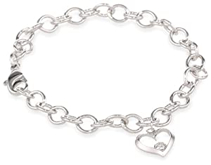 "Sterling Silver Diamond Pre-Teen Open Heart Charm Bracelet, 6.75"" (0.02 Carats, I Color, I2-I3 Clarity) by Amazon Curated Collection"