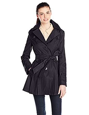 Via Spiga Women's Single-Breasted Belted Trench Coat with Hood, Midnight, X-Small