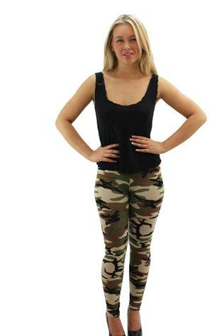 Girl Talk Womens Green Army Print Long Leggings, Green, SM