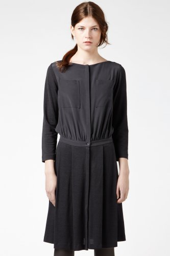 Long Sleeve Mixed Media Boatneck Dress