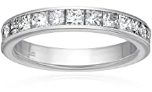 buy 14K White Gold Princess-Cut Diamond Anniversary Band (1.00 Cttw, H-I Color, I1-I2 Clarity), Size 4