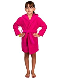 TowelSelections Hooded Kids Bathrobe - Terry Cloth Robe for Boys and Girls, 100% Egyptian Cotton, Made in Turkey, Pink, Large/X-Large