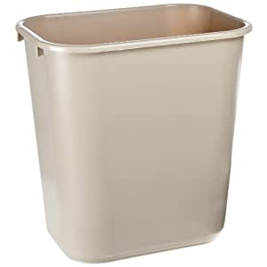 Rubbermaid Commercial Plastic 7 Gallon Trash Can Beige Home Kitchen