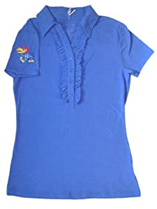 Kansas Jayhawks Meesh & Mia Women Blue 1 2 Buttoned Frill Polo Shirt (M) by Meesh & Mia