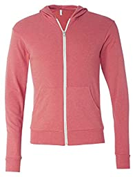Bella 3939 Unisex Triblend Full-Zip Lightweight Hoodie - Red Triblend, Large