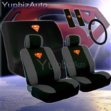 Auto Interior Gift Set - Complete Superman Classic Red And Yellow Shield Front Low Back Bucket Seat Covers Read Bench Seat Cover Set front-75378