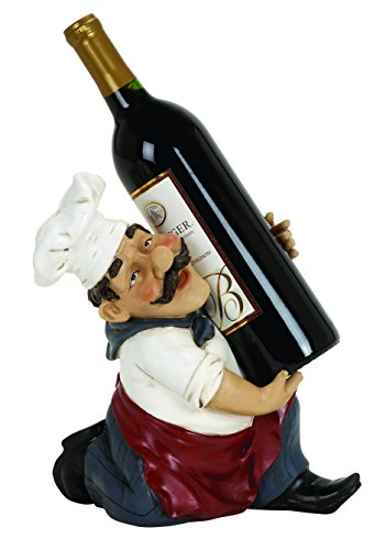 Benzara Chef Wine Bottle Holder Made Of Cold Cast Resin Composite Material front-979850