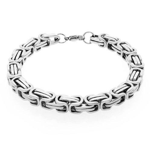 Bling Jewelry Mechanic Style Link 8mm Biker Chain Stainless Mens Bracelet 9in