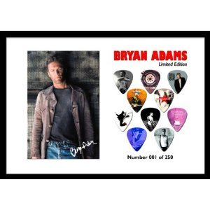 Bryan Adams Premium Celluloid Chitarra Pick Plettro Plettri Display Large A4 Sized