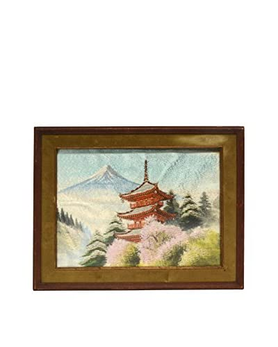 Vintage Embroidered Pagoda with Mount Fuji & Cherry Blossoms, Multi