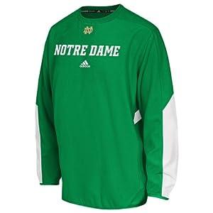 NCAA adidas Notre Dame Fighting Irish Sideline Crew Performance Sweatshirt - Green by adidas