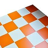 [ハリーオリジナル] リフォームするなら少量パックが便利で使いやすい ハリーDIY カラーフロアタイル 30cm角 [20枚パック] (マット オレンジ×ホワイト)