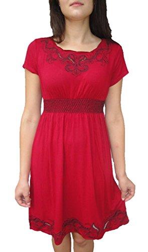 Fleur De Lis Naturals Women'S Modal Night Dress Sleepwear L Red