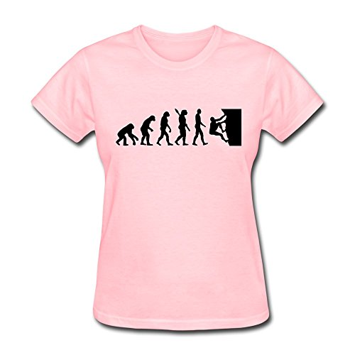 Women Evolution Climbing Funny T-Shirt Size L Color Pink