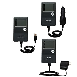 USB cable with Car and Wall Charger Deluxe Kit for the Cowon iAudio X5 - uses Gomadic TipExchange Technology