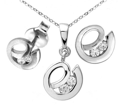 9ct White Gold Cubic Zirconia 'e' Drop Earrings and Pendant Set of 46cm