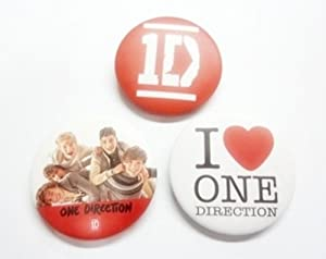 "Set of 3, 1.25"" 1D ONE DIRECTION Music Button Badge Pin Pinback brooch"