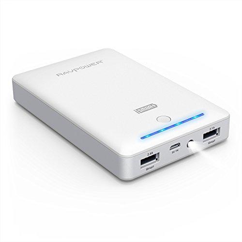モバイルバッテリー RAVPower 16750mAh充電器( 大容量 急速充電 2ポートLEDライト付 ) iPhone / iPad / Xperia / Android / タブレット / ゲーム機 / Wi-Fiルータ 等対応iSmart機能搭載 (ホワイト)