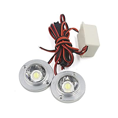 uxcell® DC 12V White LED Car Auto Trailer DRL Headlight Decorative Light
