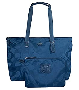 Coach 77321 Peacock Blue Signature Nylon Packable Weekender Tote