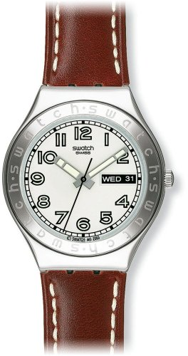 Swatch Mens Casse Cou White Dial Brown Leather Strap Watch