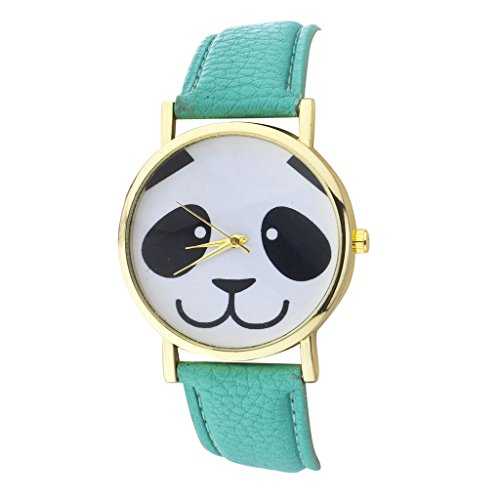 Lux-Accessories-Panda-Face-Watch-Face-and-Mint-PU-Leather-Band-Watch