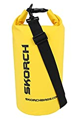 SKORCH Original Dry Bag - Protects Your Gear From Water and Sand While You Have Fun | Durable Waterproof Bag with Single Black Adjustable Strap. Size: 8x16 Inches (10 Liter) Dry Sack (Yellow with Black)