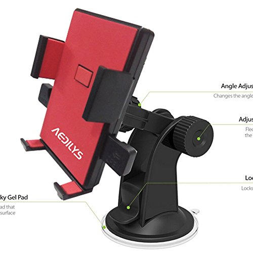 Car Mount - AEDILYS Windshield Dashboard Car Mount Holder for iPhone 6 5s 5c 4s - Samsung Galaxy S4 S3 S2 HTC One - Amazon Fire phone