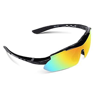 Ewin E03 Polarized Sports Sunglasses with 5 Interchangeable Lenses for Men Women Golf Baseball Fishing Cycling Driving Running Glasses