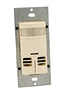 Leviton OSSMD-GDT Dual-Relay, No Neutral, Multi-Technology Wall Switch Sensor, 2400 sq. ft. Major Motion Coverage, 400 sq. ft. Minor Motion Coverage, Light Almond