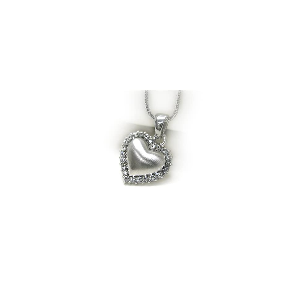 White Gold Plating Puffy Heart with Crystal Pendant Necklace