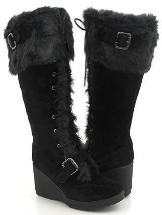 Black Furry Wedge Winter Knee Boots Women---Vegan Friendly!
