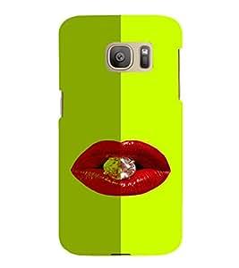 PrintVisa Hot & Sexy Lips Diamond 3D Hard Polycarbonate Designer Back Case Cover for Samsung Galaxy S7 Edge