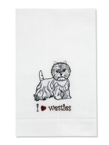 Rescue Me Now West Highland Terrier Tea Towel, 11 By 7-Inch, Embroidered front-438934