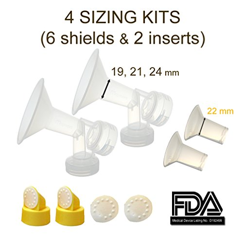 Breastshield Sizing Kit - Small; One-Piece Breastshield W/ Valve, Membrane For Medela Breast Pumps (Pump In Style, Lactina, Symphony), Choices Of Breastshields Size 19 - 30 Mm In Retail Packaging (Factory Sealed); Made By Maymom (Combo- 19 21 22 24 Mm) front-248924