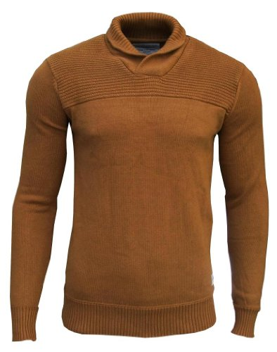 Jack & Jones Men's Shawl Neck Jumper brown rust / navy elbow patches Extra Large