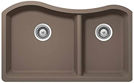 SCHOCK ASHN175U010 ASH Series CRISTALITE 70/30 Undermount Double Bowl Kitchen Sink, Onyx