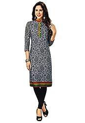 Salwar Studio Women's Grey Cotton Paisley Printed Kurti Fabric