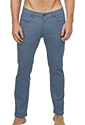 OLLIN1 Mens Slim Fit Colored Cotton Twill Jean Pants