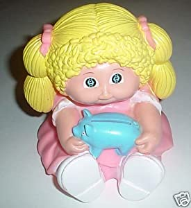 1990 Cabbage Patch Girl with Blue Pig Coin Bank