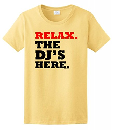 Relax The Dj'S Here Ladies T-Shirt Xl Yellow