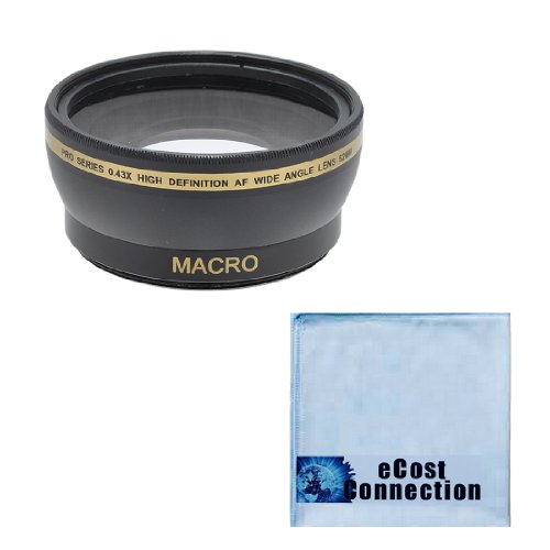 Pro Series 52Mm 0.43X Wide Angle Lens + Microfiber Cloth For Nikon Af-S Nikkor 35Mm F/1.8G Dx Lens, 18-55Mm F/3.5-5.6G Ed Ii Af-S Dx Zoom-Nikkor, Af-S Dx Vr Zoom-Nikkor 55-200Mm F/4-5.6G If-Ed