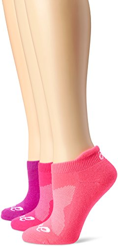 ASICS Women's Cushion Low Cut Sock (Pack of 3), Medium, Knockout Pink