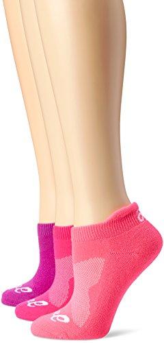 ASICS Women's Cushion Low Cut Sock (Pack of 3), Medium, Knockout Pink