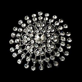 Silver Crystal Bridal Brooch Pin Hair Clip